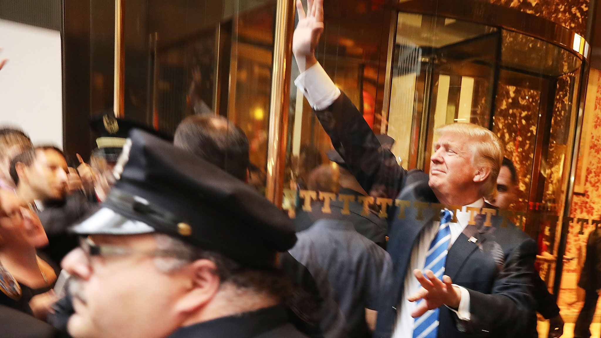 Donald Trump greets supporters outside of Trump Towers in Manhattan, New York City on Oct 8 2016