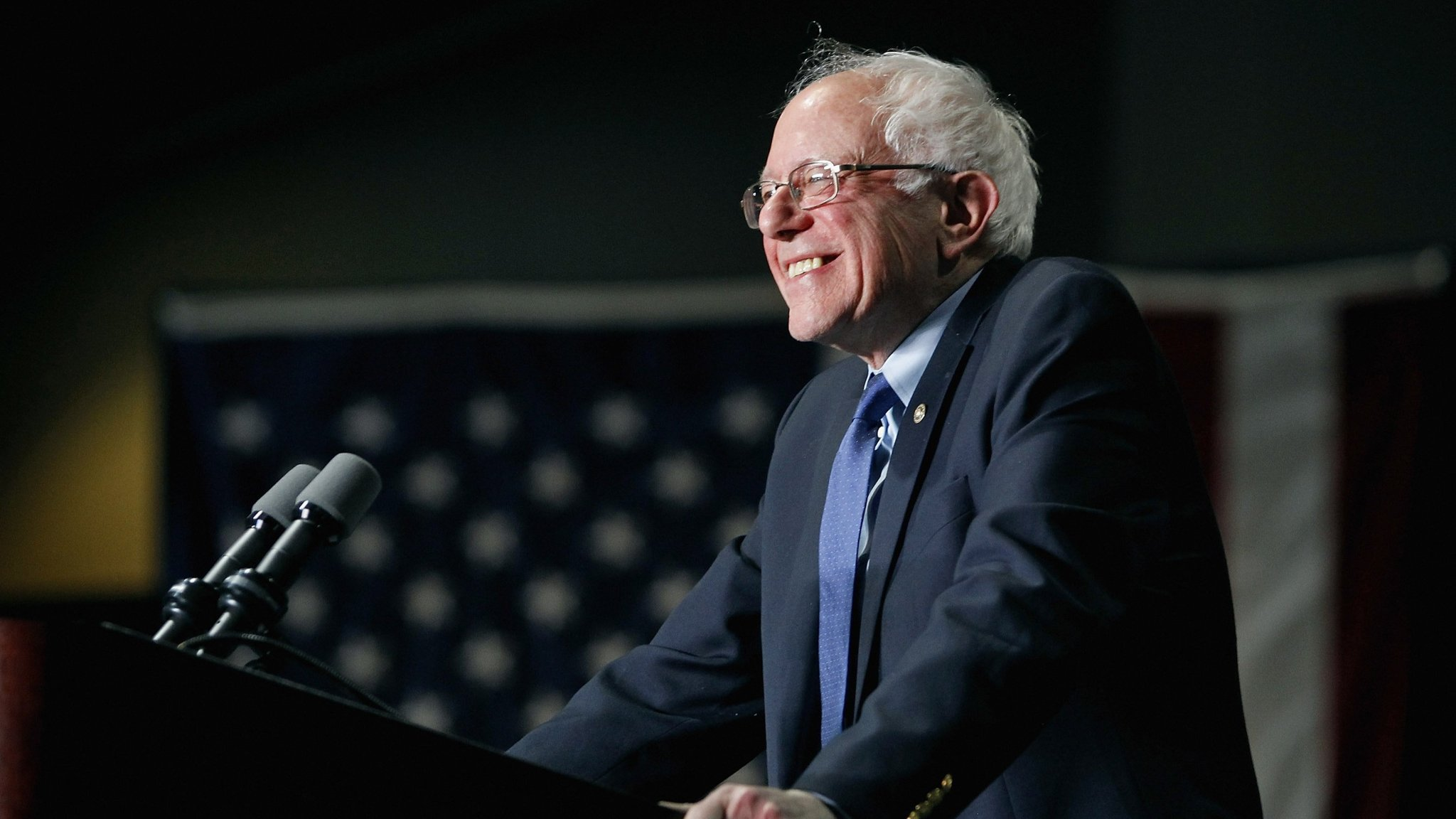 PHOENIX, AZ - MARCH 15: Democratic presidential candidate Sen. Bernie Sanders (D-VT) speaks to a crowd gathered at the Phoenix Convention Center during a campaign rally on March 15, 2016 in Phoenix, Arizona. Hillary Clinton won the Democratic primary elections in Florida, North Carolina and Ohio, while Missouri and Illinois remain tight races. (Photo by Ralph Freso/Getty Images)