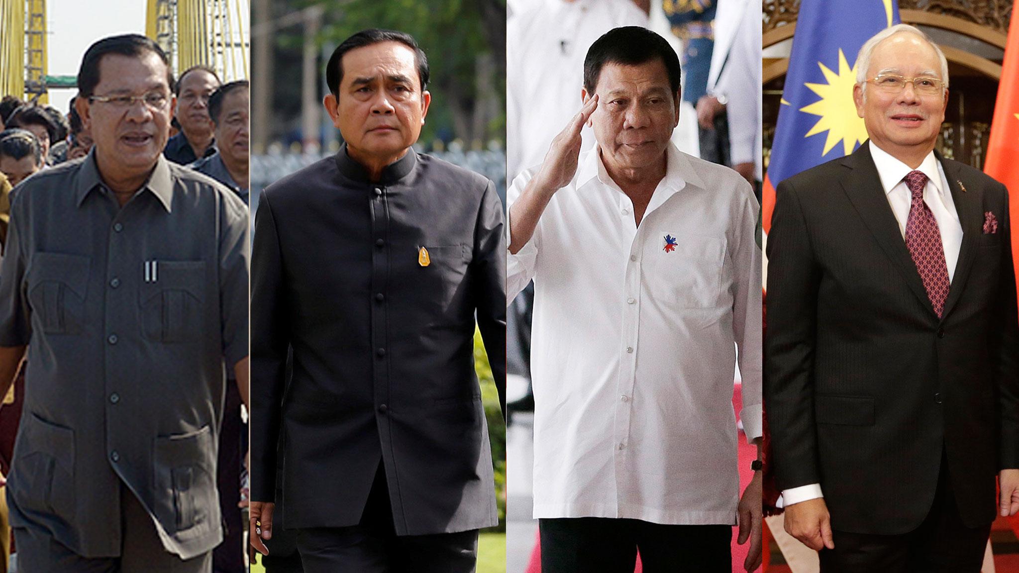 From left: Cambodia's Prime Minister Hun Sen; Thailand prime minister Prayuth Chan-ocha; Philippine president Rodrigo Duterte; Malaysian Prime Minister Najib Razak