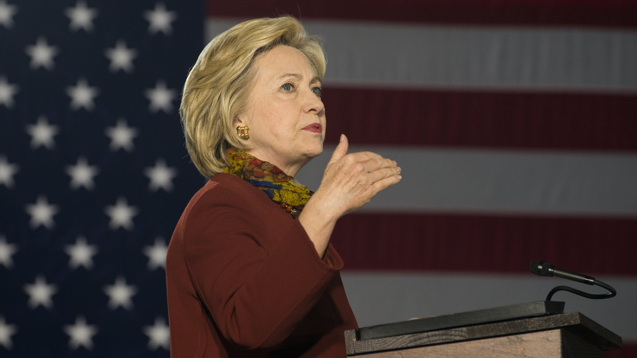 MINNEAPOLIS, MN - DECEMBER 15: Democratic presidential candidate Hillary Clinton speaks at the University of Minnesota on December 15, 2015 in Minneapolis, MN. During the speech Clinton announced her counterterrorism strategy to protect the United States if elected President. Ten Minnesota men have been arrested and charged with attempting to join the Islamic State. (Photo by Stephen Maturen/Getty Images)