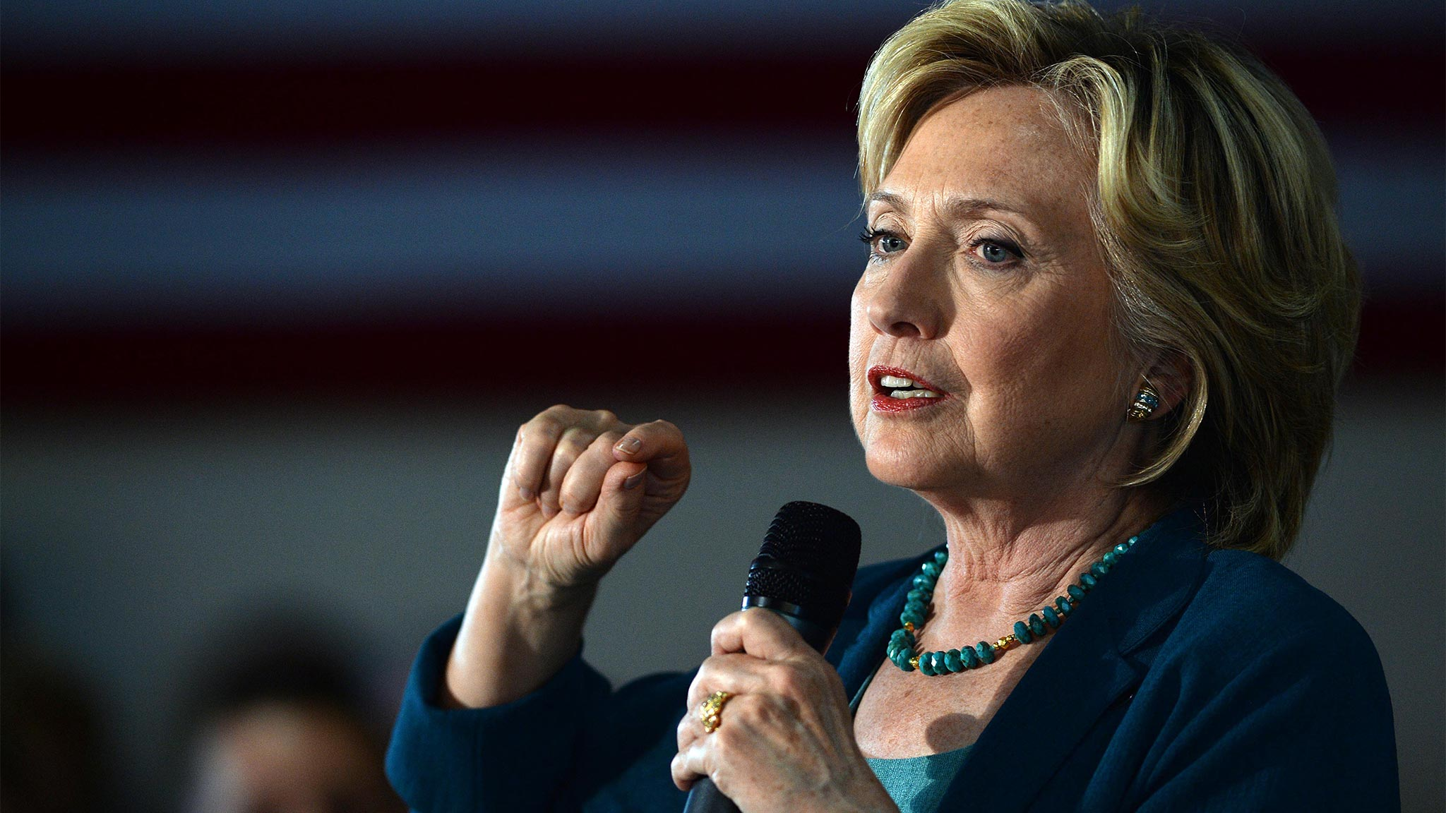 Democratic Presidential candidate Hillary Clinton speaks during a community forum on substance abuse September 17, 2015 in Laconia, New Hampshire. Clinton spent the day campaigning and spoke at on substance abuse. (Photo by Darren McCollester/Getty Images)