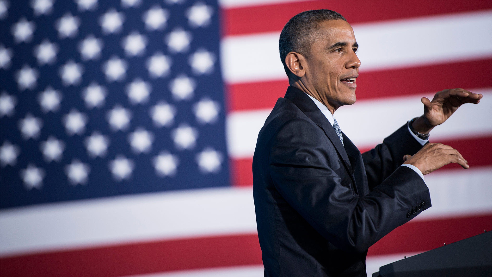US President Barack Obama speaks at the City Club of Cleveland on March 18, 2015 in Cleveland, Ohio. Obama spoke about the middle class economy. AFP PHOTO/BRENDAN SMIALOWSKI